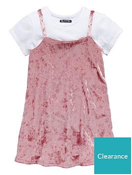 mini-v-by-very-girls-crushed-velour-pink-dress-white-tee