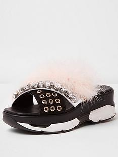 river-island-pacific2-gem-and-faux-fur-slide