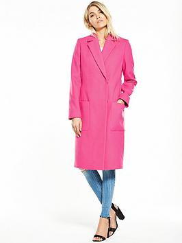 V by Very Hot Pink Longline Coat   littlewoodsireland.ie