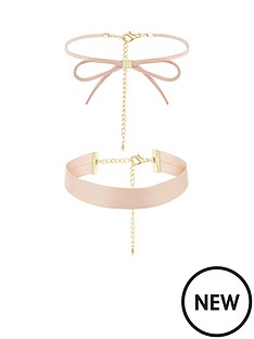 v-by-very-2-pack-skinny-bow-and-chunky-choker-set-nude