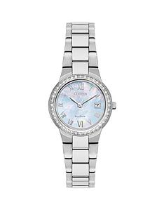 citizen-citizen-eco-drive-mother-of-pearl-dial-swarovskireg-crystal-stainless-steel-bracelet-ladies-watch