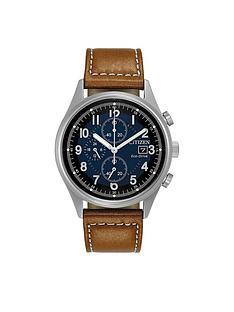 citizen-citizen-eco-drive-blue-chronograph-dial-brown-leather-strap-mens-watch