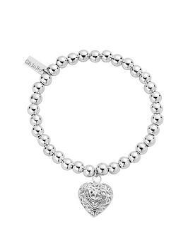 chlobo-sterling-silver-small-ball-filigree-heart-bracelet