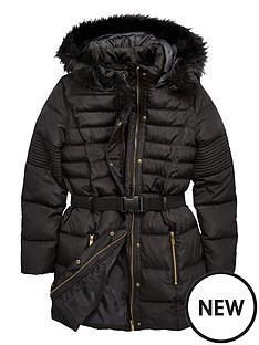v-by-very-girls-belted-longline-padded-coat-black