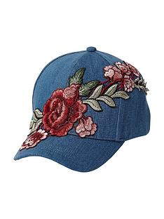 river-island-river-island-girls-dark-denim-embroidered-cap