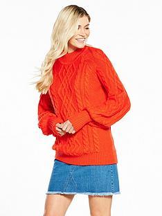 v-by-very-cable-blouson-sleeve-jumper-dark-orange