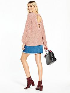 v-by-very-cut-out-back-blouson-sleeve-jumper