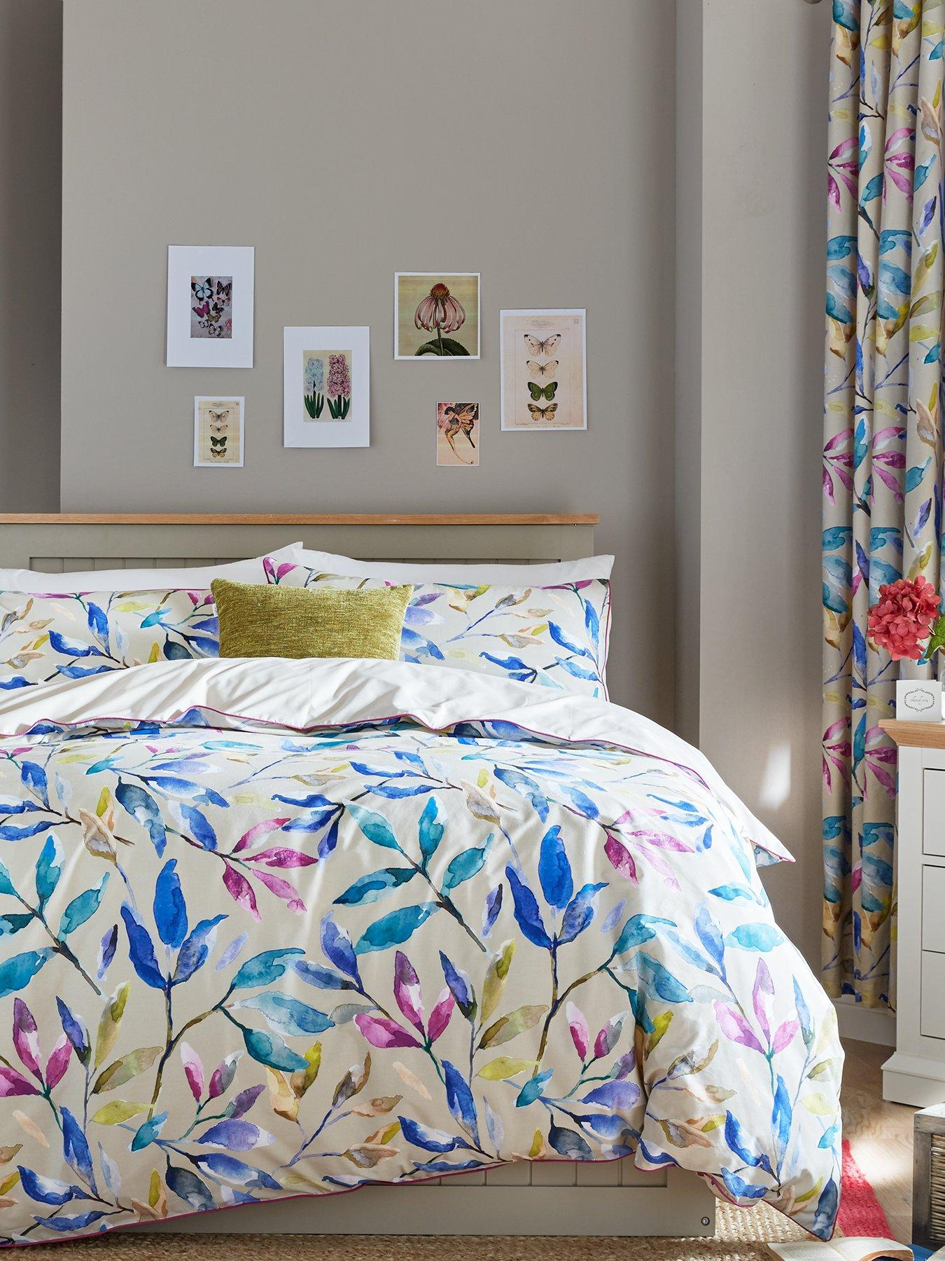ideal home watercolour leaves cotton rich 180 thread count duvet cover set
