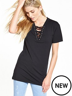 v-by-very-lace-up-t-shirt-tunic-black
