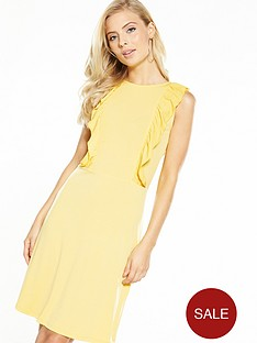 v-by-very-jersey-ruffle-front-short-dress-yellow