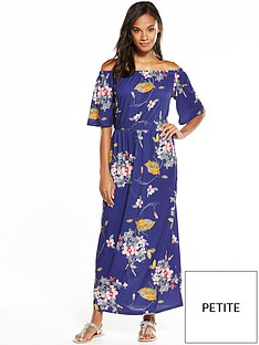 v-by-very-petite-petite-bandeau-fluted-sleeve-maxi-dress