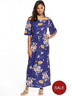 v-by-very-bandeau-fluted-sleeve-maxi-dress