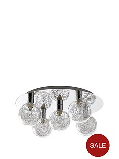Ceiling lights spotlights home lighting littlewoods ireland palermo tinsel flush 5 light ceiling light mozeypictures Image collections