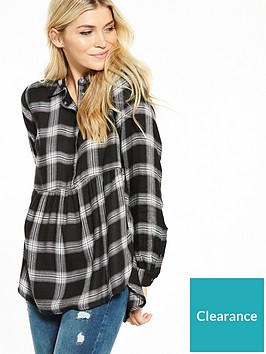 v-by-very-check-half-placket-dipped-hem-tencel-shirt