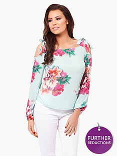 jessica-wright-charley-printed-cold-shoulder-top