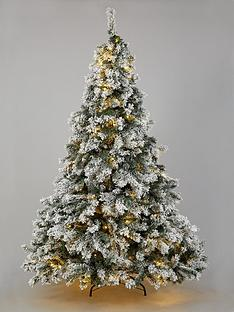 7ft-flocked-pre-lit-downswept-pine-christmas-tree