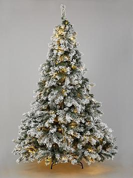 7ft-flocked-pre-lit-downswept-pine-christmas-tree