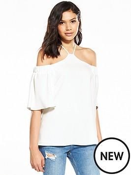 river-island-river-island-white-high-neck-short-sleeve-blouse