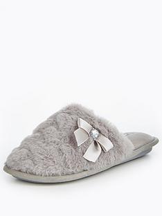 v-by-very-snowy-heart-print-faux-fur-mule-slipper-dark-grey