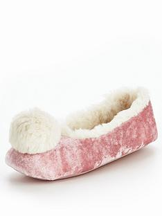 v-by-very-willow-pom-velvet-ballerina-slipper-pink