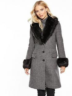 v-by-very-fauxnbspfur-collar-and-cuff-dogtooth-coat