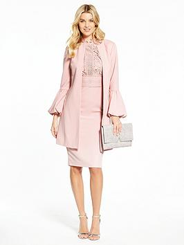 V By Very Fluted Sleeve Jacket And Lace Top Dress Suit