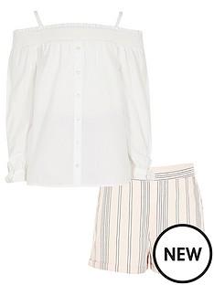 river-island-girls-lace-bardot-amp-stripe-short-outfit