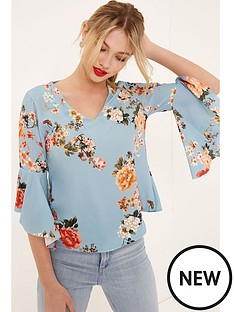 girls-on-film-floral-flute-sleeve-blouse