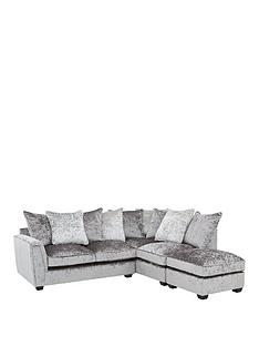 glitz-right-hand-fabric-corner-chaise-sofa-greysilver-blackpewternbsp