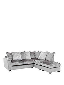 glitz-right-hand-fabric-corner-chaise-sofa-greysilver-blackpewternbsp