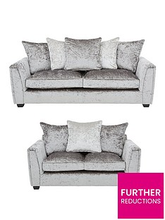 glitz-3-seater-2-seater-fabric-scatter-back-sofa-set-greysilver-blackpewternbsp-buy-and-save