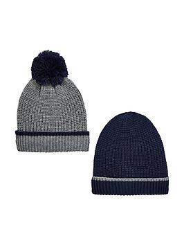 v-by-very-boys-knitted-bobble-hats-8-14-years-2-pack--nbspnavygrey
