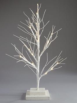 Small White Pre Lit Twig Christmas Tree 60 Cm