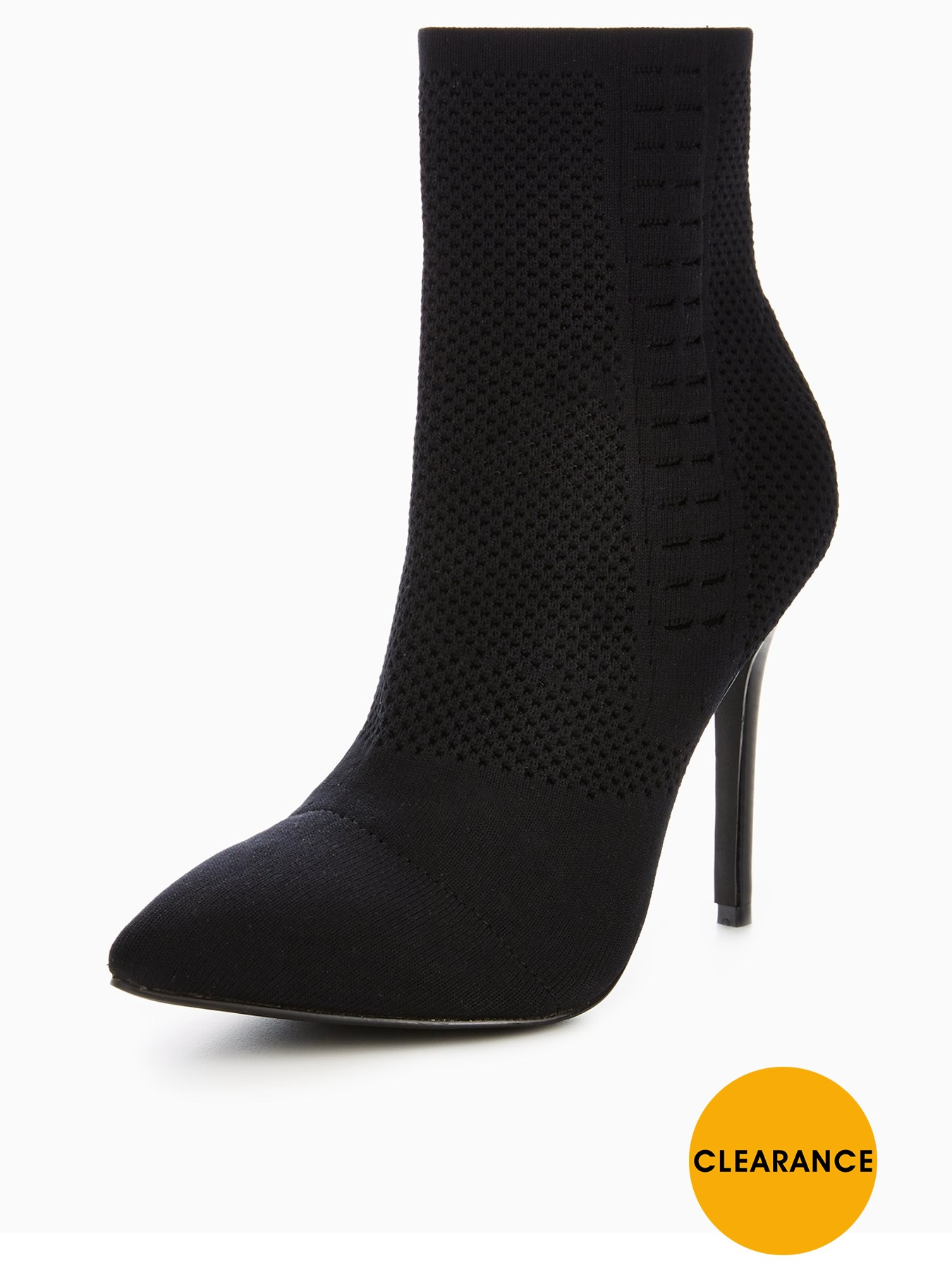 V by Very Kitty Knitted Pointed Ankle Boot Black 1600178998 Women's Shoes V by Very Boots