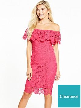 paper-dolls-bright-pink-lace-bardot-midi-dress
