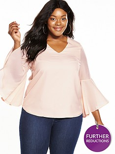 v-by-very-curve-fluted-sleeve-blouse-blush