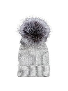 v-by-very-lurex-thread-faux-fur-pom-pom-beanie-grey