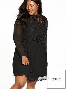 v-by-very-curve-plisse-skirt-lace-trim-top-dress