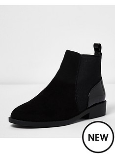 river-island-river-island-flat-boot-mixed-fabric-branded-plait