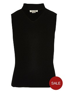 river-island-girls-black-knit-sleeveless-choker-top