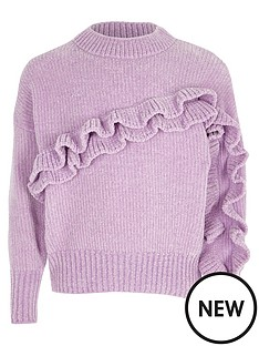 river-island-girls-light-purple-chenille-frill-jumper