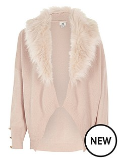 river-island-girls-pink-fur-collar-cardigan