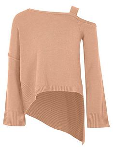 river-island-girls-pink-cold-shoulder-asymmetric-jumper