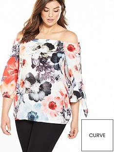 v-by-very-curve-printed-bardot-tie-sleeve-top