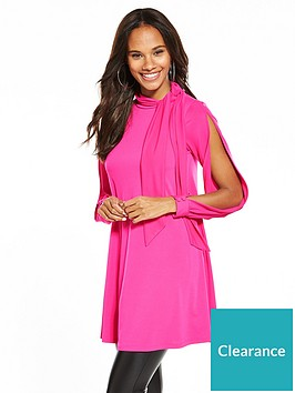 v-by-very-split-sleeves-crepe-bow-neck-tunic-dress-pink