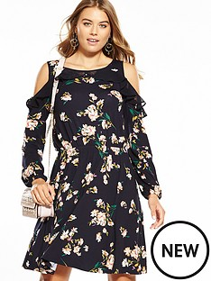 v-by-very-jersey-ruffle-cold-shoulder-dress