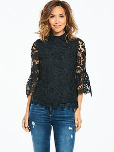 myleene-klass-lace-flute-sleeve-blouse-black