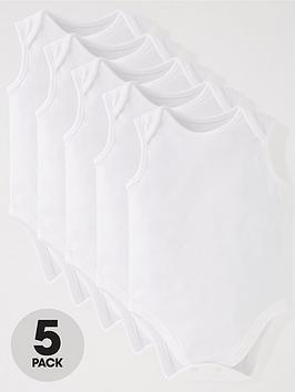 v-by-very-baby-unisex-5-pack-sleeveless-bodysuits-white