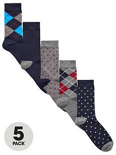 v-by-very-5-pk-argyle-amp-spot-socks-multi