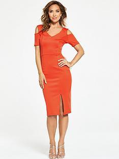 myleene-klass-v-neck-cold-shoulder-bodycon-dress-red